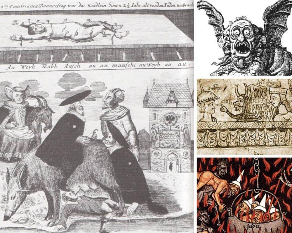 Демонизация евреев — средневековые художники подчеркивают связь иудеев с дьяволом, изображают евреев с внешними признаками животных